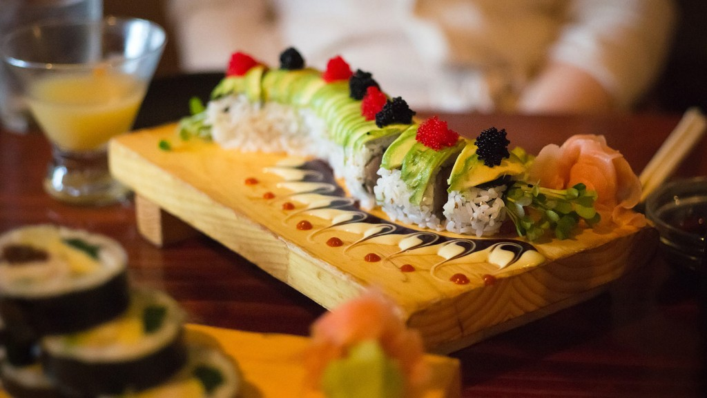 Assorted fresh Sushi theme served w/ Wasabi and Ginger